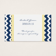 Blue Yellow Chevron Wedding Favor Tags at Zazzle