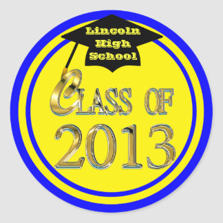 Blue & Yellow Class Of 2013 Graduation Stickers