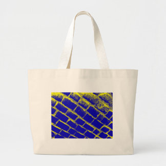 Blue Yellow Cobbles Reversed Tote Bags