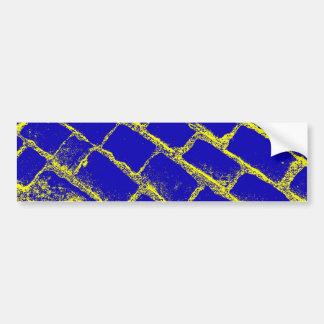 Blue Yellow Cobbles Reversed Bumper Sticker