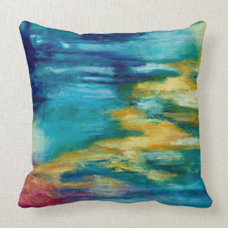 Blue yellow coral reef cushion pillow