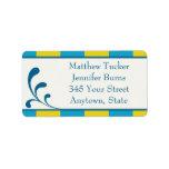 Blue & Yellow Custom Envelope Address Labels Address Label