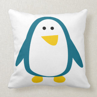 Blue yellow cute penguin animation illustration throw pillow