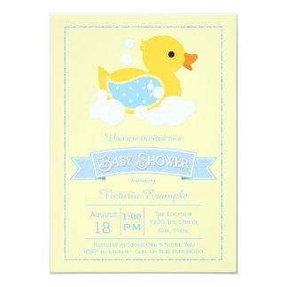 Blue Yellow Cute Rubber Duck Baby Shower Card