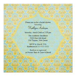 Blue & Yellow Damask Bridal Shower Invitation
