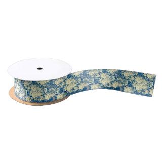 Blue yellow damask custom ribbon satin ribbon