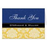 Blue Yellow Damask Wedding Thank You Cards