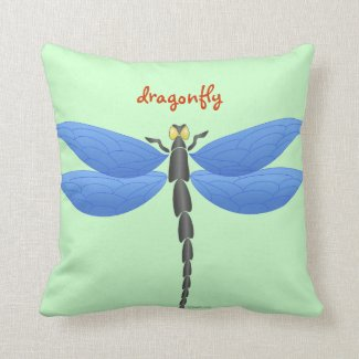 Blue, yellow dragonflies, personalized throw pillow