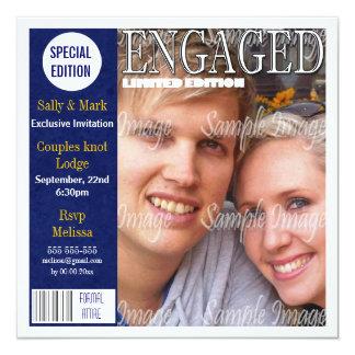 Blue yellow engagement magazine PERSONALIZE Invite