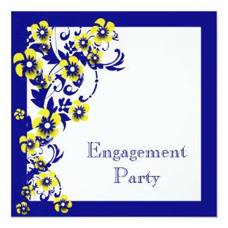 Blue yellow engagement wedding anniversary card