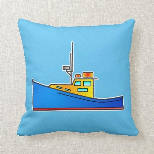 Blue Yellow Fishing boat throw cushion pillow Zazzle