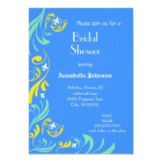 Blue Yellow Fleur de Lis Vine Bridal Shower Card