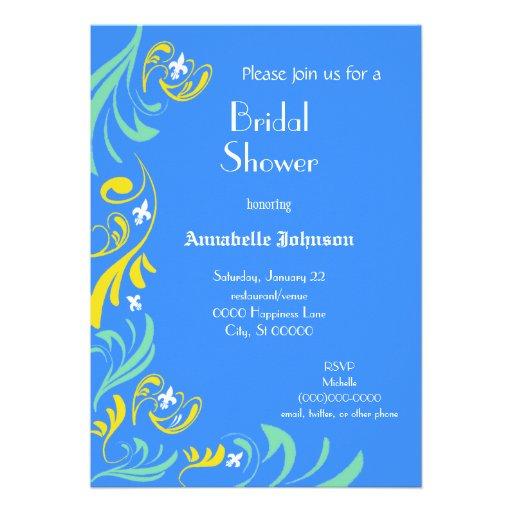 Blue Yellow Fleur de Lis Vine Bridal Shower Custom Announcements