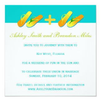 Blue Yellow Flip Flops Beach Wedding Invitation