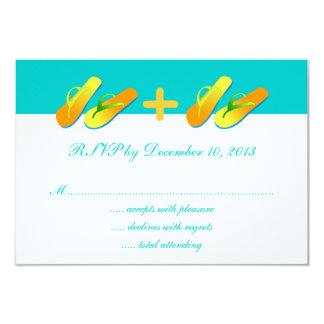 Blue Yellow Flip Flops Beach Wedding RSVP 3.5x5 Paper Invitation Card