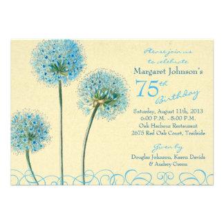 Blue Yellow Floral Flower 75th Birthday Invitation