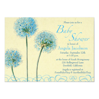 Blue Yellow Floral Flower Baby Shower Invitation