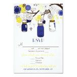 Blue & Yellow Floral Mason Jars RSVP Wedding Card Custom Announcement