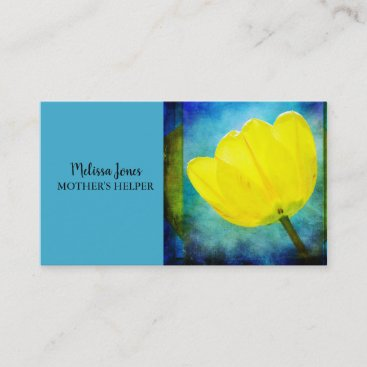 Blue Yellow Floral Mother's Helper Business Card