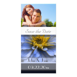 """Blue & Yellow Floral  /photo  """"Save the Date"""" Custom Photo Card"""