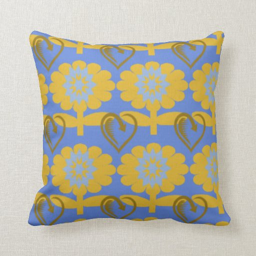 Throw Pillows Yellow And Blue : Blue & Yellow Flowers - Throw Pillow - Designer Zazzle