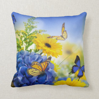 Blue Yellow Flowers With Butterflies Throw Pillow