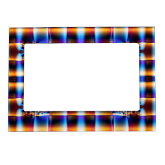 Blue yellow fractal abstract photoframe magnetic frame