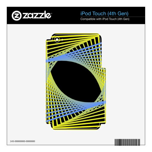 Blue & Yellow Fractal Skins For iPod Touch 4G