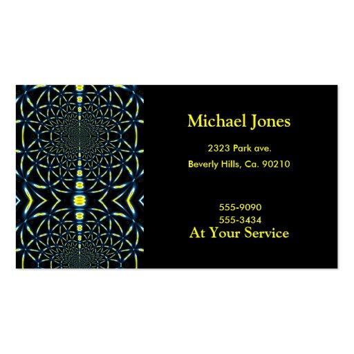 Blue & Yellow Fractal Spirals Business Card