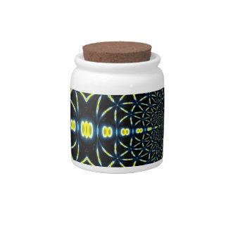 Blue & Yellow Fractal Spirals Candy Jar