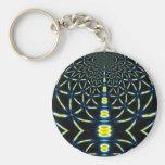 Blue & Yellow Fractal Spirals Keychains