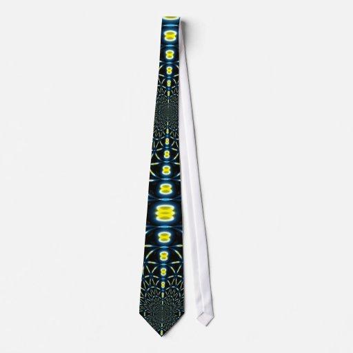 Blue & Yellow Fractal Spirals Tie