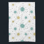 """Blue Yellow Franciscan Starburst Mid-century Kitchen Towel<br><div class=""""desc"""">This fabulous mid century modern kitchen towel features Franciscan starbursts in blue and yellow. Make a statement in your kitchen decor!</div>"""