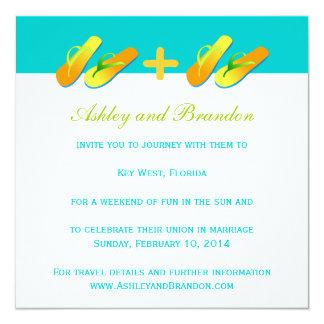 Blue Yellow Fun Beach Wedding Invitations