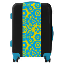 Blue Yellow Funky Tribal Lester's Fave Luggage