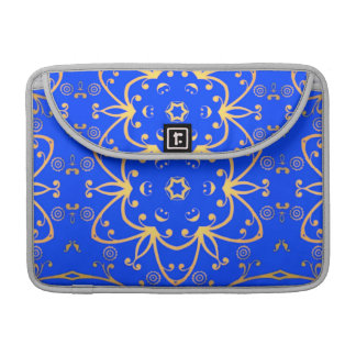 blue & yellow geometric cosmic floral sleeves for MacBook pro