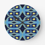 Blue Yellow Geometric Funky Pattern Round Clock