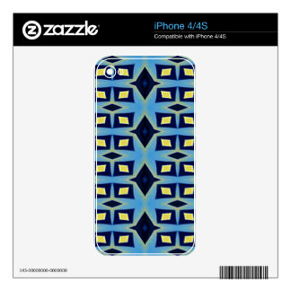 Blue Yellow Geometric Funky Pattern Skin For iPhone 4S