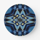 Blue Yellow Geometric Symmetrical Funky Pattern Round Clock
