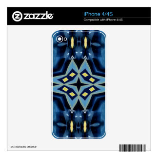 Blue Yellow Geometric Symmetrical Funky Pattern Skin For The iPhone 4