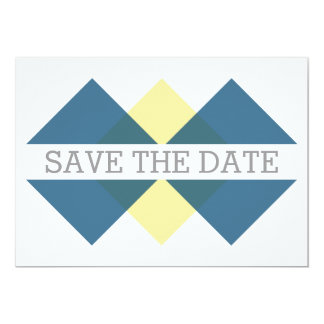 Blue Yellow Geometric Triad Save the Date Invite