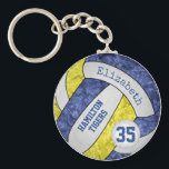 """blue yellow girls&#39; team name volleyball keychain<br><div class=""""desc"""">This personalized girls&#39; volleyball keychain with team name features a floral kaleidoscopic pattern blended with the blue and yellow volleyball panels and an artsy abstract swirl pattern blended with the white panels - her name and team name are customizable, as is her jersey number on a tiny white volleyball -...</div>"""