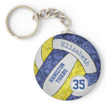 blue yellow girls' team name volleyball keychain