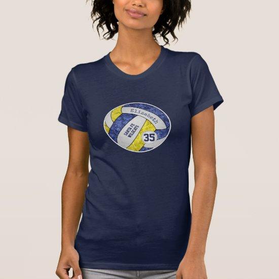 blue yellow girl's volleyball team spirit T-Shirt