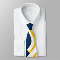 Blue Yellow-Gold and White Anvil Abstract Necktie