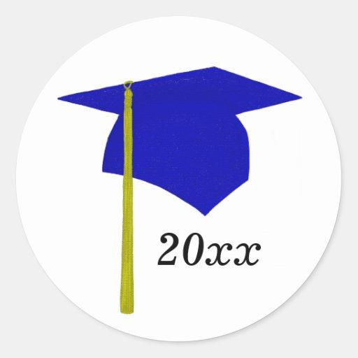 Blue & Yellow Graduation Cap Stickers, Class of