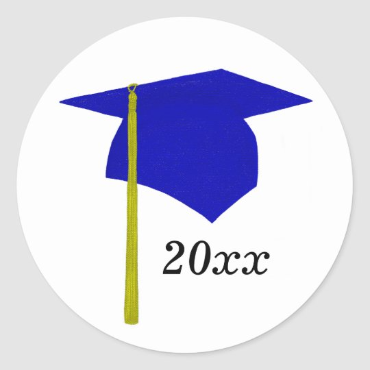 Blue & Yellow Graduation Cap Stickers, Class of Classic Round Sticker