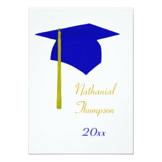 Blue & Yellow Graduation Cap & Tassel Invitations