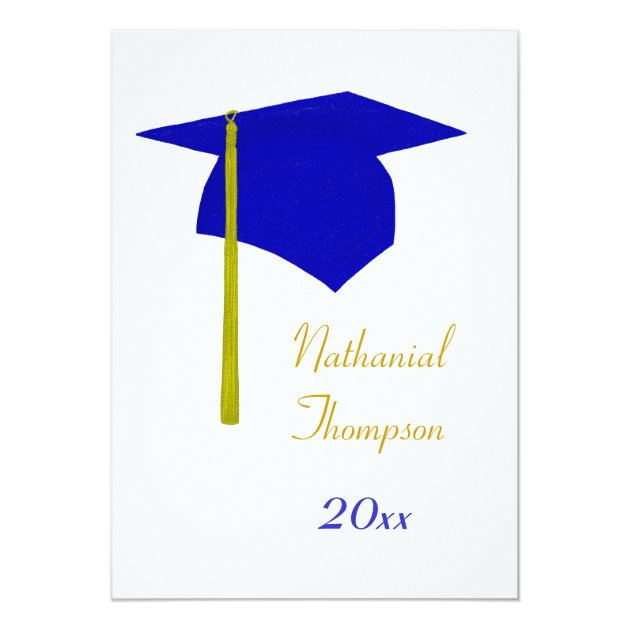 blue  u0026 yellow graduation cap  u0026 tassel invitations