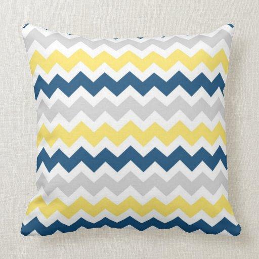 Throw Pillows Yellow And Blue : Blue Yellow Gray Chevron Decorative Pillow Zazzle